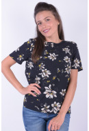 Bluza Dama Pieces Pckimmie Ss Top D2d Black / Flower