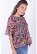 Bluza Dama Vero Moda Vmpower Frill 2/4 Top Black / Flower