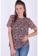 Bluza Dama Pieces Pcamper Ss Top Black / All Over