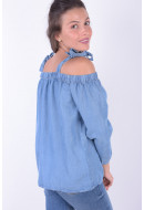 Bluza Dama Pieces Pcglay Off Shoulder Dnm Top Light Blue Denim