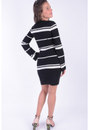 Rochie Dama Vero Moda Vmabra Stripe Ls V-neck Dress Black / W Pristine