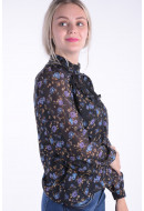 Women Shirt Vero Moda Vmrose Lace Ls Shirt Black / Rose Print
