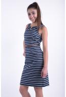 Rochie Dama Vero Moda Vmpekaya Sl Short Dress Black Iris / Snow White Stripe