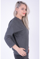 Bluza Dama Pieces Pcnomma 3/4 Sweat Dark Grey Melange