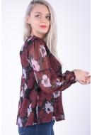 Bluza Dama Pieces Pcolla Ls Blouse Port Royale / Flower Print