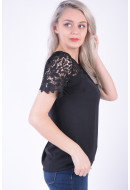 Bluza Dama Vila Vimelli Blocked Lace Top Negru