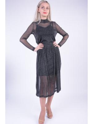 Rochie Dama Pieces Pcodina Ls Long Dress Black / Silver Lurex