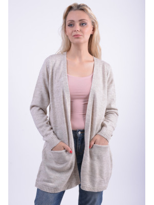 Cardigan Dama Vila Viriva Ls Knit Cardigan Light Grey Melange