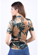 Bluza Dama Vila Kaitlin High Neck Pine Grove/Flower