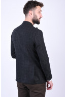 Sacou Barbati Selected Slim-Myloiver Dark Grey Checks Black
