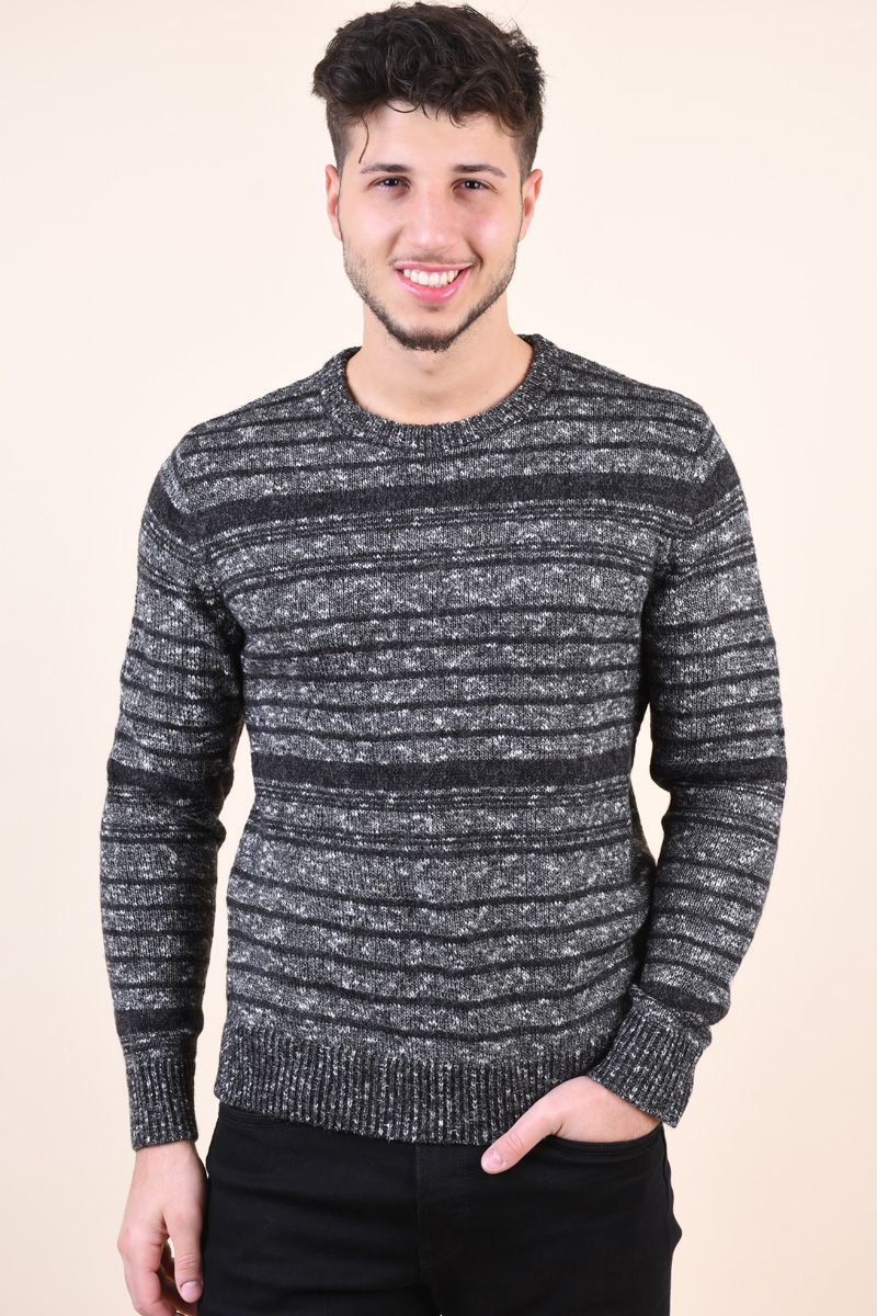 Pulover Barbati Jack&Jones Leon Crew Neck Dark Grey Melange