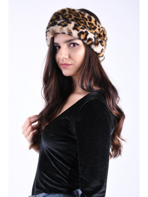 Canadiana Pieces Fur Headband Black/Leopard Print