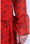 Rochie Dama Pieces Pcleon Ls Dress High Risk Red / Flower