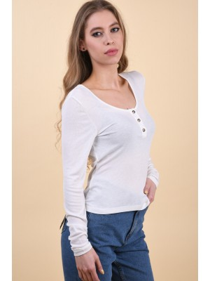 Bluza Dama Noisy May Henley Snow White