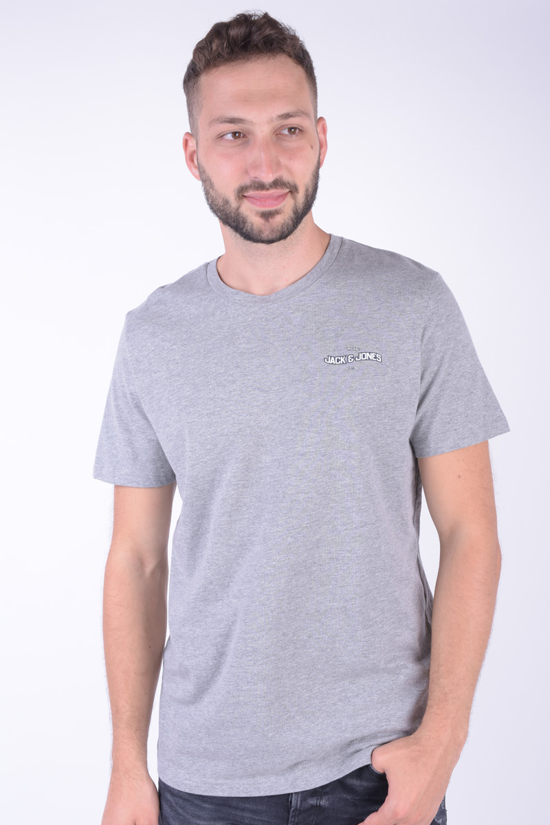 Tricou Barbati Jack&Jones Jor Checkeren Tee Ss Crew Neck Light Grey Melange
