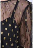 Bluza Dama Vila Golddot 2/4 Sleeve Black/Gold Dots