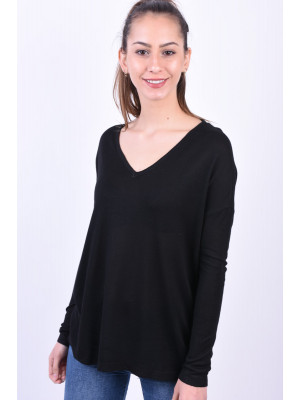Bluza Dama Noisy May Nmbecca Loose V-Neck Black