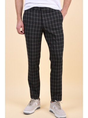 Pantaloni Barbati Selected Mylogan Grey Grey Checks Brown