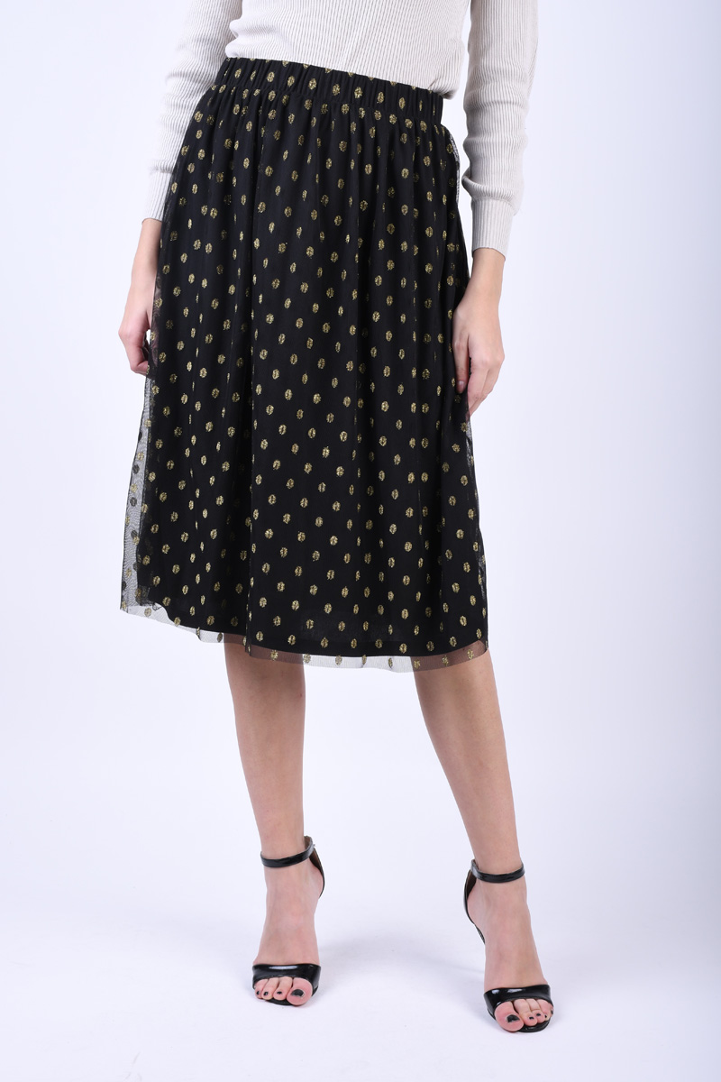 Fusta Vila Golddot Midi Black/Gold Dots