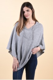 Poncho Vila Mandy Knit Light Grey Melange