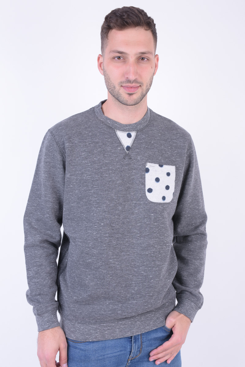 Bluza Barbati Jack&Jones Jorpolka Crew Neck Light Grey Melange