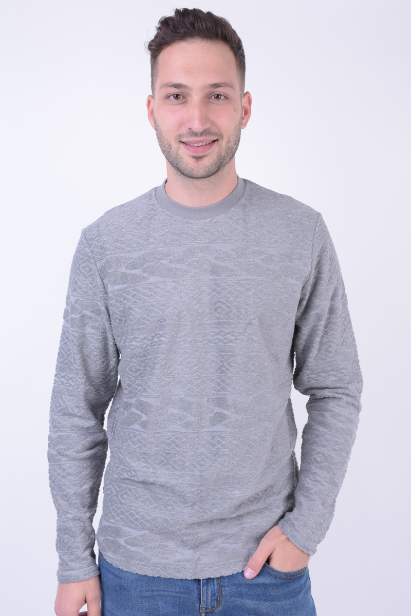 Bluza Barbati Jack&Jones Joroover Crew Neck Light Grey Melange
