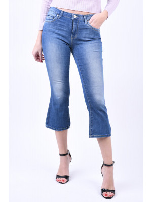 Blugi Dama Only Leena Reg Flare Crop Medium Blue Denim