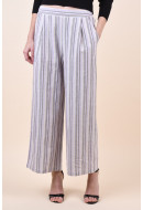 Pantaloni Dama Vila Signas Wide 7/8 Nomad Stripes Cloud Dancer