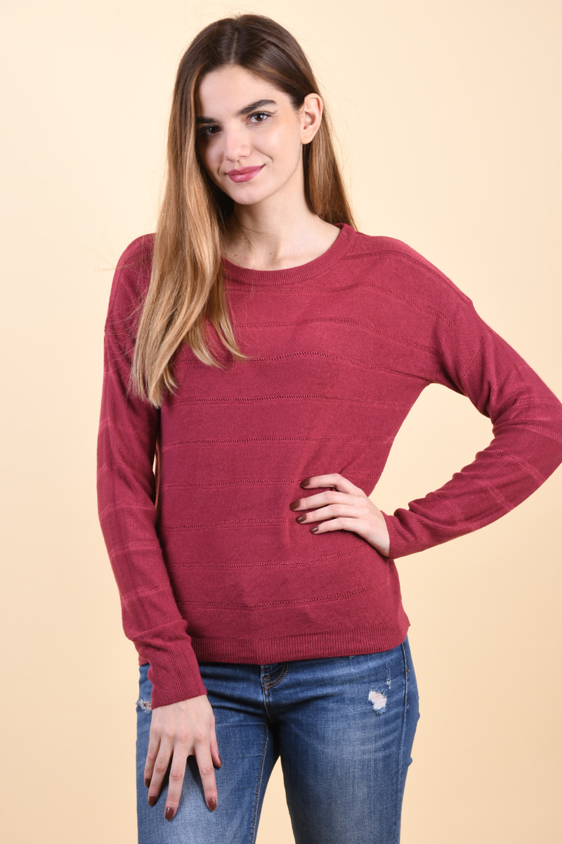 Pulover Dama Jacqueline De Young Pulli Knit Red Plum