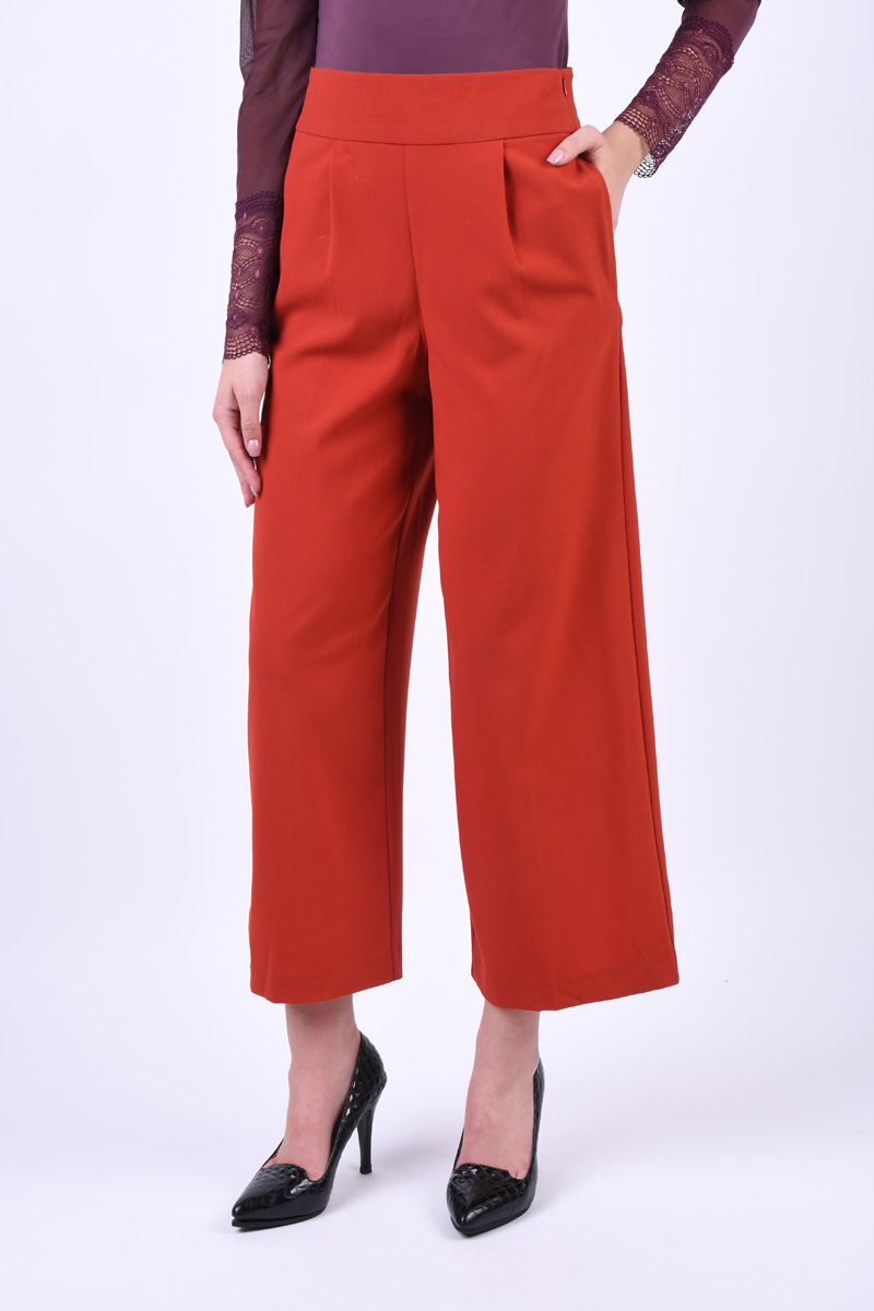 Pantaloni Dama Only Roma Ankle Hw Wide Ketchup