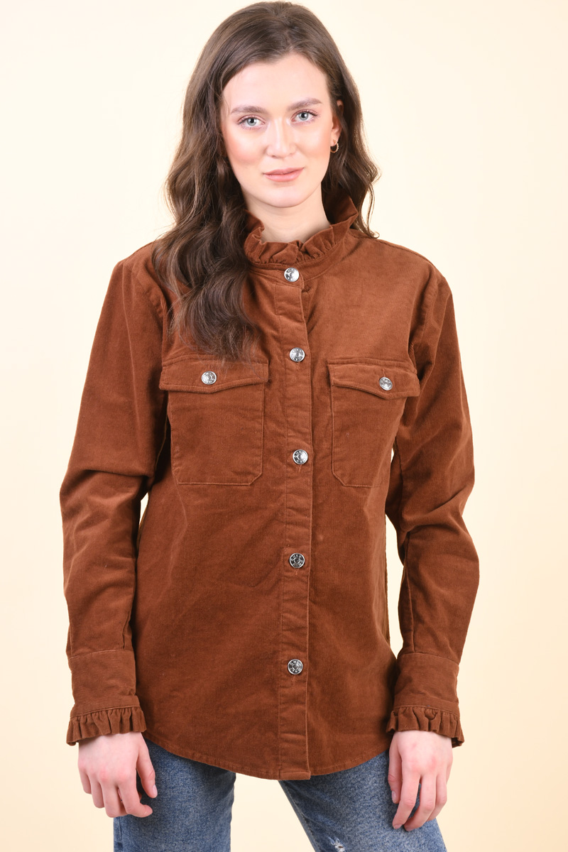 Camasa Dama Only Zoia Corduroy Brown Sugar