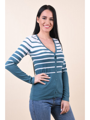 Cardigan Dama Sublevel D9650w90251a Dark Petrol / White