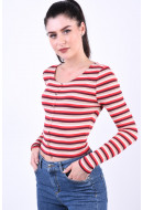 Bluza Dama Only Hannah Cropped Tomato Stripes