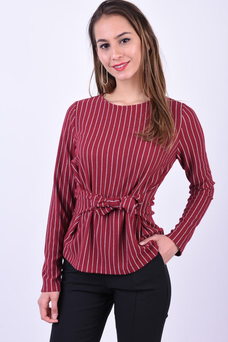 Bluza Dama Pieces Oriak Tie Rumba Red/Silver