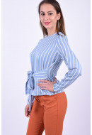 Bluza Dama Pieces Gail Tie Ashley Blue/Cloud Dancer