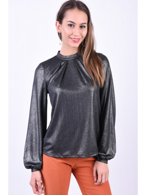 Bluza Dama Pieces Beatrice T-Neck Black/Silver