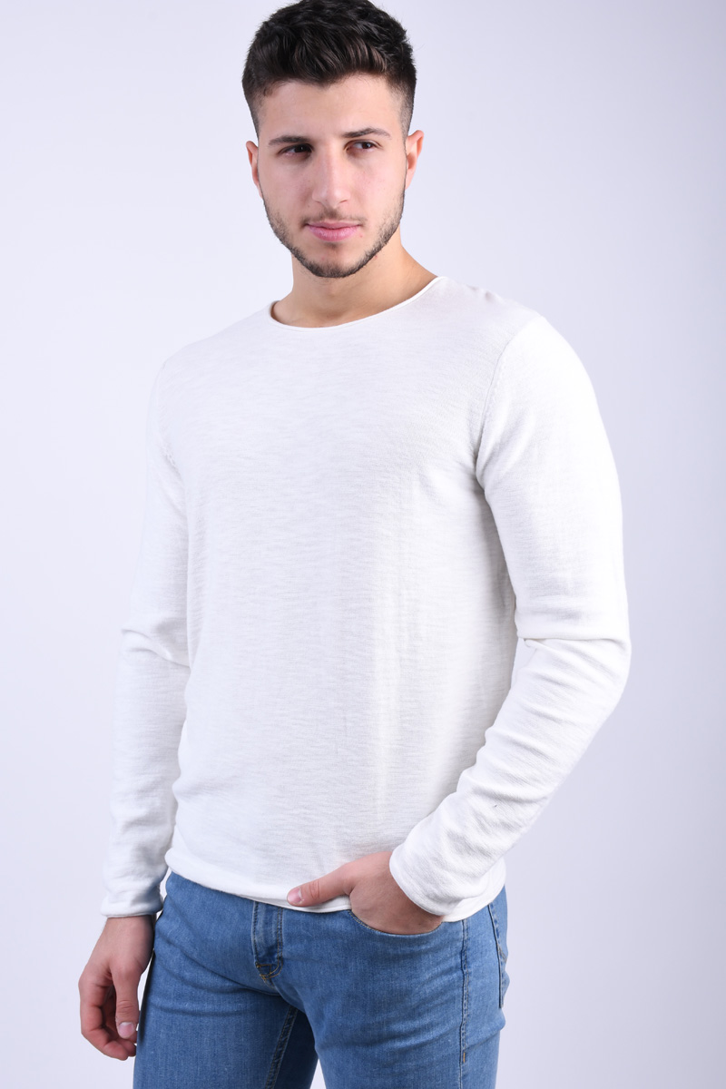 Pulover Barbati Jack&Jones Slub Crew Neck Cloud Dancer