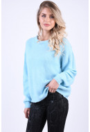 Pulover Dama Vero Moda Rana Bow O-Neck Cool Blue