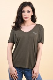 Tricou Dama Noisy May Denny V-Neck Olive Night