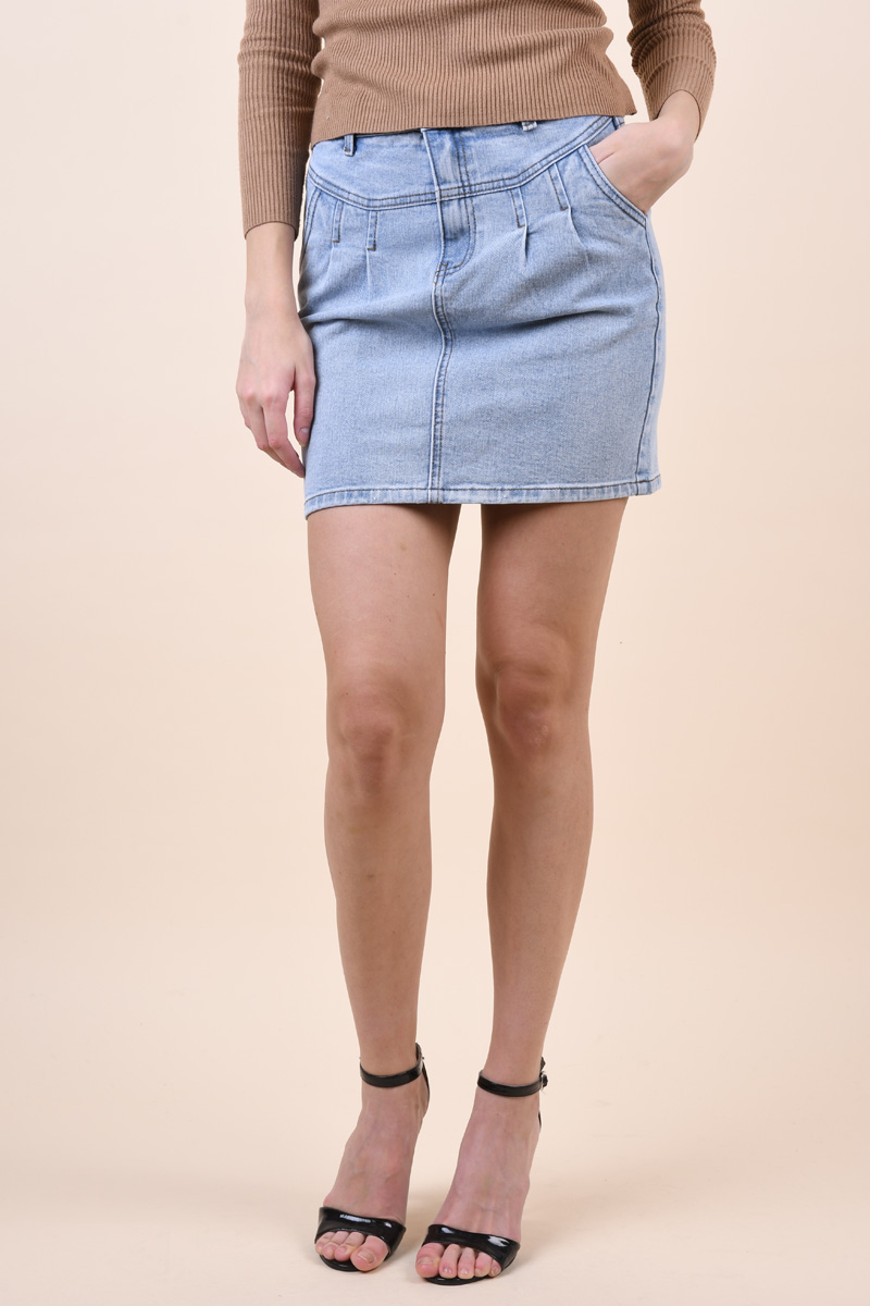 Fusta Object Moji Cutline Light Blue Denim