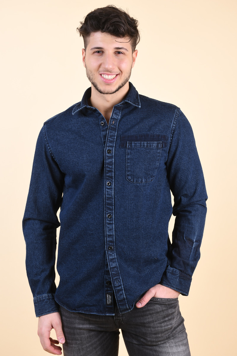 Camasa Barbati Jack&Jones Jack One Pocket Dark Blue Denim