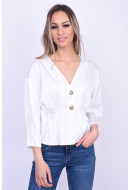 Bluza Dama Vero Moda Vmhanna Button 3/4 Snow White