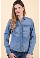 Camasa Dama Noisy May Dilem Slim 6 Medium Blue Denim