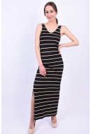 Rochie Only Onlabbie Sl V-Neck Black Stripes Cloud Dancer/Yellow