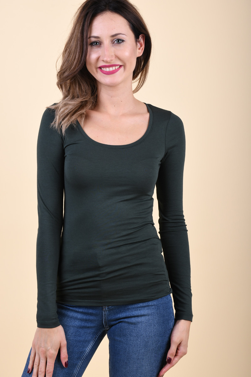 Bluza Dama Vila Officiel O-Neck Darkest Spruce