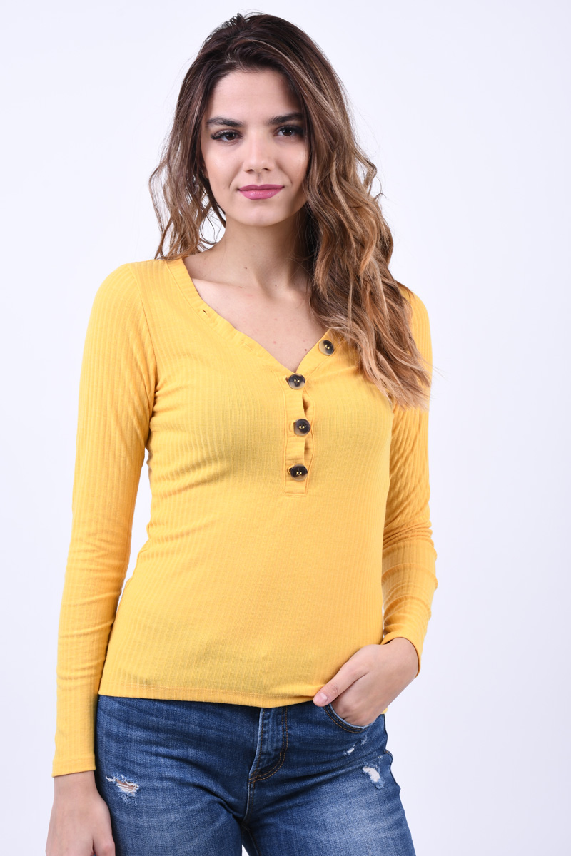 Bluza Dama Only Mona Button Rib Yolk Yellow
