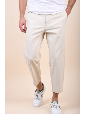 Pantaloni Barbati Selected Chase Crop Bone White
