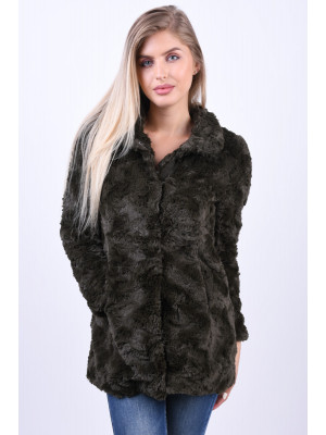 Jacheta Dama Vero Moda Curl High Neck Faux Fur Peat