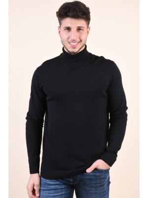 Pulover Barbati Selected Tower Cot/Silk Roll Neck Black