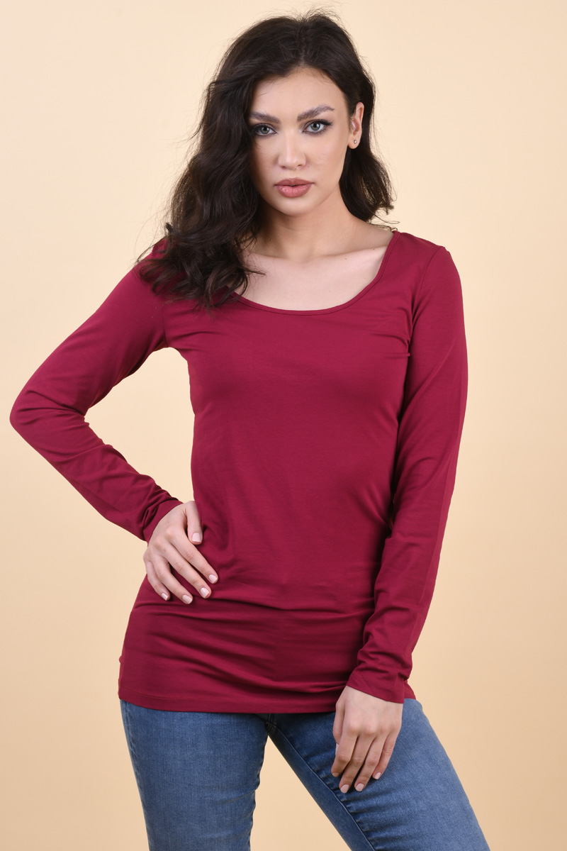 Bluza Dama Vero Moda Maxi My Soft Long U Neck Beet Red